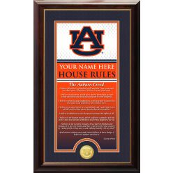 """Auburn University """"Creed"""" Personalized House Rules Supreme Bronze Coin Photo Mint"""