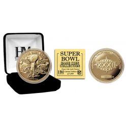 Super Bowl XXXII 24kt Gold Flip Coin