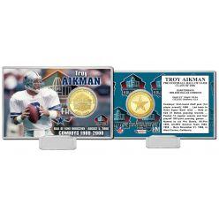 Troy Aikman NFL HOF Bronze Coin Card