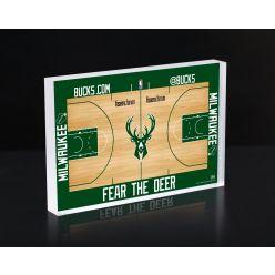 Milwaukee Bucks Court 3D Acrylic Block