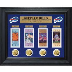 Buffalo Bills 4 Consecutive Super Bowl Appearances Deluxe Ticket & Game Coin Collection