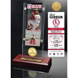 Bob Gibson Class of 1981 Ticket & Bronze Coin Acrylic Desk Top