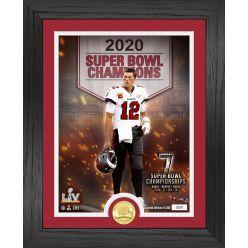 Tom Brady 7 Time Super Bowl Champion Banner Bronze Coin Photo Mint