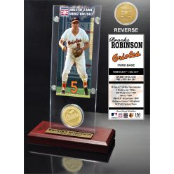 """Brooks Robinson """"Hall of Fame"""" Ticket & Bronze Coin Acrylic Desk Top"""