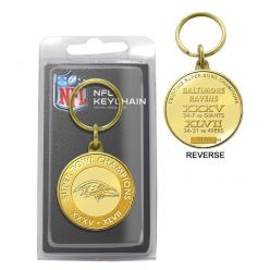 Baltimore Ravens 2-Time Super Bowl Champions Bronze Coin Keychain