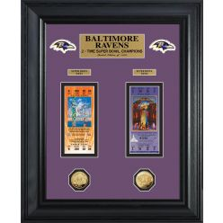 Baltimore Ravens Super Bowl Ticket and Game Coin Collection Framed