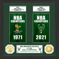 Milwaukee Bucks 2-Time Champions Bronze Coin Banner Collection