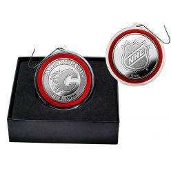 Calgary Flames Silver Coin Ornament