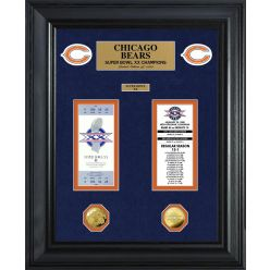 Chicago Bears Super Bowl Ticket and Game Coin Collection Framed