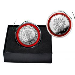 Chicago Blackhawks Silver Coin Ornament