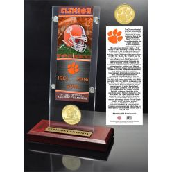 Clemson Tigers 3-Time National Champions Ticket & Bronze Coin Acrylic Desk Top