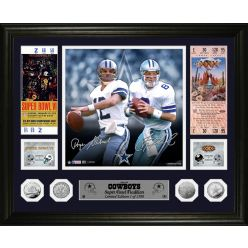 Roger Staubach & Troy Aikman Cowboys Super Bowl Traditions Silver Coin Photo Mint