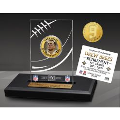 Drew Brees NFL Career Acrylic Gold Coin