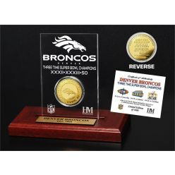 Denver Broncos 3-time Super Bowl Champions Gold Coin Etched Acrylic