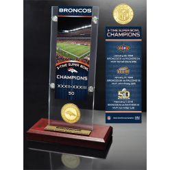 Denver Broncos 3-Time Super Bowl Champions Ticket & Bronze Coin Acrylic Desk Top