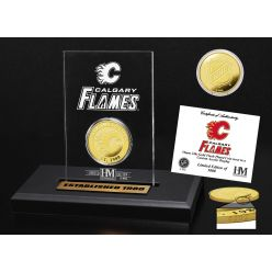 Calgary Flames Gold Coin Etched Acrylic