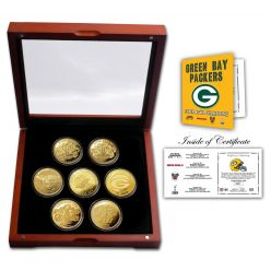 Green Bay Packers Super Bowl Champions Gold 7 Coin Set