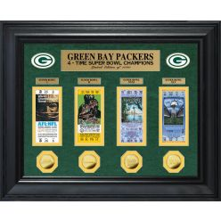 Green Bay Packers 4-Time Super Bowl Champions Deluxe Gold Coin & Ticket Collection