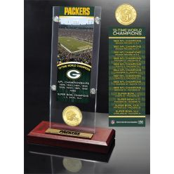 Green Bay Packers 4-Time Super Bowl Champions Ticket & Bronze Coin Acrylic Desk Top