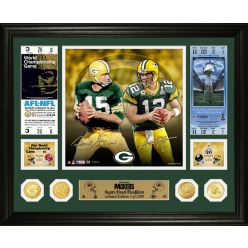 Bart Starr & Aaron Rodgers Packers Super Bowl Traditions Bronze Coin Photo Mint