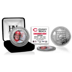 Johnny Bench Baseball Hall of Fame Silver Color Coin