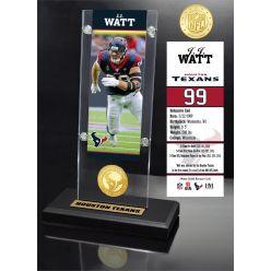 JJ Watt Ticket & Bronze Coin Acrylic Desk Top