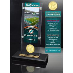 Miami Dolphins 2x Champions Ticket & Bronze Coin Acrylic Desk Top