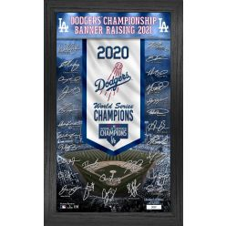 Los Angeles Dodgers 2020 Champions Banner Raising Signature Frame