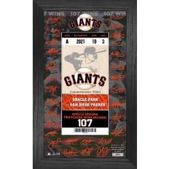San Francisco Giants Franchise Wins Record Signature Ticket Frame