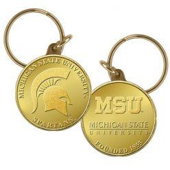 Michigan State Bronze Coin Keychain
