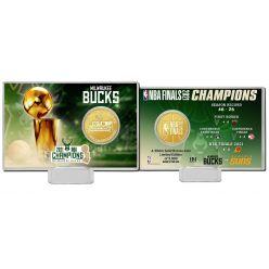 Milwaukee Bucks 2021 NBA Finals Champions Bronze Coin Card