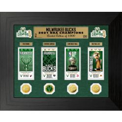 Milwaukee Bucks 2021 NBA Finals Champions Deluxe Gold Coin & Ticket Collection