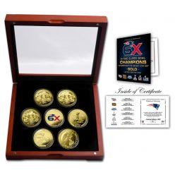 New England Patriots 6x Super Bowl Champions Gold 7-Coin Set