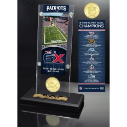 New England Patriots 6-Time Super Bowl Champions Ticket & Bronze Coin Acrylic Desk Top