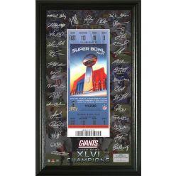 Super Bowl XLVI Champions Signature Framed Ticket