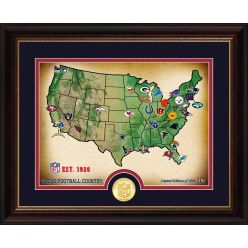 NFL Teams Geographical Map Bronze Photo Mint