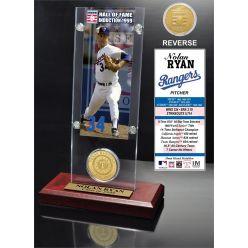 """Nolan Ryan """"Hall of Fame"""" Ticket & Bronze Coin Acrylic Desk Top"""