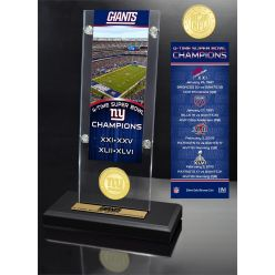 New York Giants 4x Champions Ticket & Bronze Coin Acrylic Desk Top
