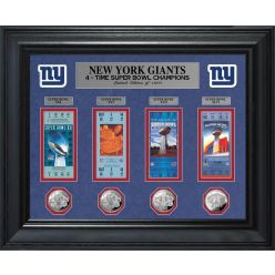 New York Giants 4-Time Super Bowl Ticket and Game Coin Collection Framed
