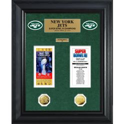 New York Jets Super Bowl Ticket and Game Coin Collection Framed