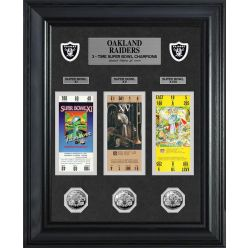 Raiders Super Bowl Ticket and Game Coin Collection Framed
