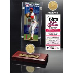 """Ozzie Smith """"Hall of Fame"""" Ticket & Bronze Coin Acrylic Desk Top"""
