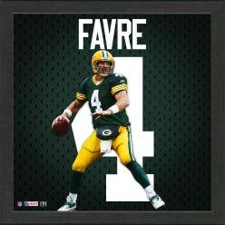 Brett Favre Green Bay Packers Impact Jersey Framed Photo