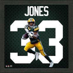 Aaron Jones Green Bay Packers Impact Jersey Framed Photo