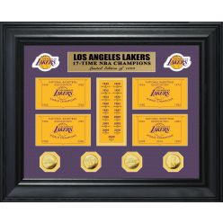 Los Angeles Lakers 17-Time Champions Gold Coin Deluxe Banner Collection