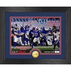 Taron Johnson 101 Yard Pick Six Buffalo Bills Bronze Coin Photo Mint
