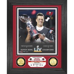 Tom Brady Super Bowl 55 Champion Trophy Bronze Coin Photo Mint