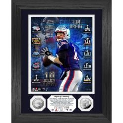 Tom Brady New England Patriots 10 Super Bowls Silver Coin Photo Mint