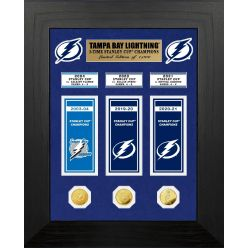 Tampa Bay Lightning 3-Time Stanley Cup Champions Deluxe Banner and Gold Coin Collection