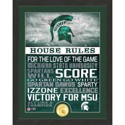 Michigan State University Spartans House Rules Bronze Coin Photo Mint